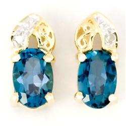 1.34Ct London Blue Topaz & Diamond 9K Gold Earrings (JEW-9130X)