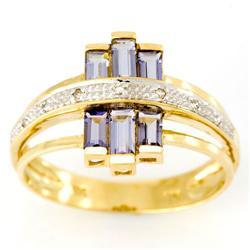 1.40Ct Natural Iolite & Genuine Diamond Ring 9K Gold (JEW-9163X)