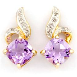 3.25Ct Natural Amethyst & Diamond 9K Gold Earrings (JEW-9166X)