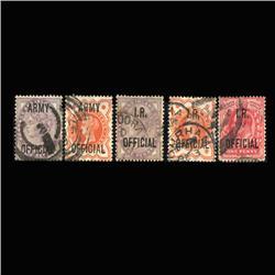 1882-1903 RARE British Official Stamp Set 5 Pieces Hi Grade (STM-0153)