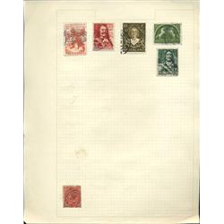 1950s Netherlands Hand Made Stamp Collection Album Page 6 Pieces (STM-0250)