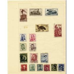 1940s Czechoslovakia Hand Made Stamp Collection Album Page 18 Pieces (STM-0297)