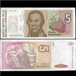 1989 Argentina 5 Australes Note Crisp Uncirculated (CUR-05564)