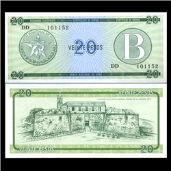 1985 Cuba 20 Peso Foreign Exchange Crisp Uncirculated Note RARE Series B (CUR-05965)