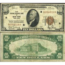 1929 $10 Federal Reserve Bank New York Note Circulated Scarce (CUR-06232)