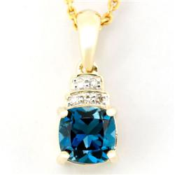 1.03Ct London Blue Topaz & Diamond 9K Gold Pendant (JEW-9040X)
