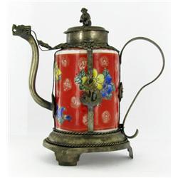 "Vintage Chinese Ceramic Lidded Teapot 4"" (ANT-864)"