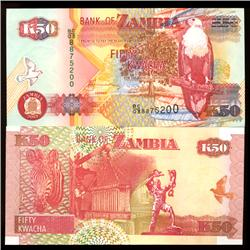 2003 Zambia 50 Kwacha Crisp Unc Note (COI-3818)