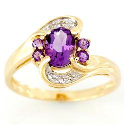 1.70Ct Natural Amethyst & Diamond Yellow 9K Gold Ring (JEW-9140X)