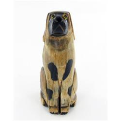 RARE Water Buffalo Horn Scrimshaw Dog  (CLB-585)