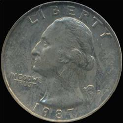 1987D Washington 25c Quarter Coin Graded GEM (COI-6898)