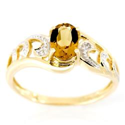 1.11Ct Champagne Quartz & Diamond 9K Gold Ring (JEW-9141X)