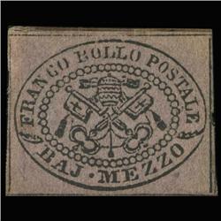 1852 RARE Italy Roman States 2c Postal Stamp MINT (STM-0184)
