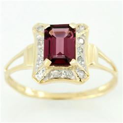 1.34Ct Rhodolite & 14 Genuine Diamond 9K Gold Ring (JEW-9046X)
