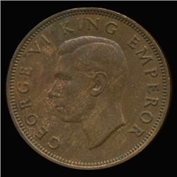 1941 New Zealand Half Penny High Grade AU+ RARE (COI-6805)