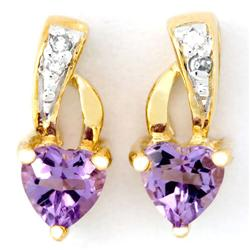 0.68Ct Heart Amethyst & Diamond Earrings 9K Gold (JEW-9143X)