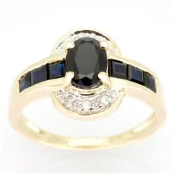 2.60Ct Black Sapphire & Diamond Ring Yellow 9K Gold (JEW-9064X)