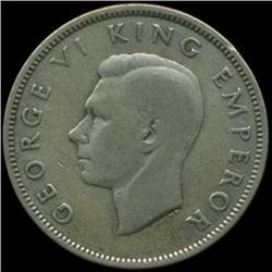 1944 New Zealand Florin George VI Hi Grade RARE (COI-6988)