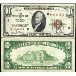 1929 $10 Federal Reserve Bank New York Note Crisp Circulated XF/AU Scarce (CUR-06235)