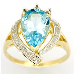 3.20Ct Huge Natural Blue Topaz & Diamond 9K Gold Ring (JEW-9044X)