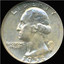 1953 Washington 25c Silver Quarter Coin Graded GEM (COI-6827)