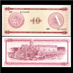 1985 Cuba 10 Peso Foreign Exchange Crisp Uncirculated Note RARE Series A (CUR-05952)