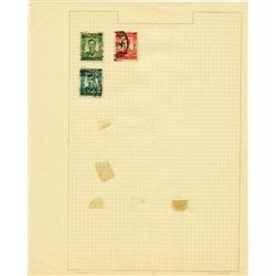 1950s Rhodesia Hand Made Stamp Collection Album Page 3 Pieces (STM-0280)