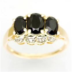 2.35Ct Huge Black Sapphire & Diamond 9K Gold Ring (JEW-9146X)