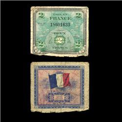1944 France WW2 Allied Military 2 Franc (COI-4576)
