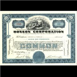 1960s Ronson Stock Certificate Scarce Blue (COI-3353)
