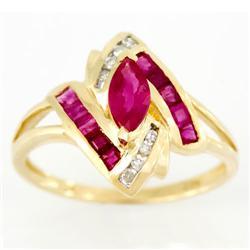 1.26Ct Natural Ruby & Genuine Diamond 9K Gold Ring (JEW-9150X)