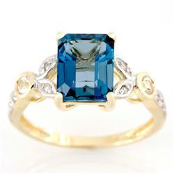 3.12Ct Huge London Blue Topaz & 10 Diamond 9K Gold Ring (JEW-9110X)