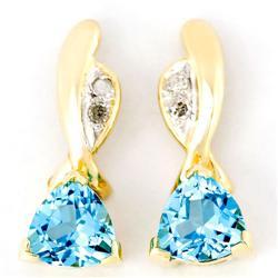 1.20Ct Swiss Blue Topaz & Diamond 9K Gold Earrings (JEW-9047X)