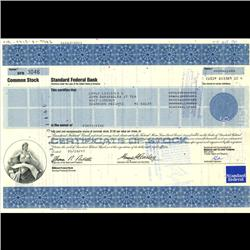 1980s Standard Federal Bank Stock Certificate Scarce (COI-3410)
