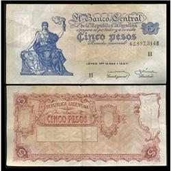 1959 Argentina 5 Peso Note High Grade (CUR-05549)