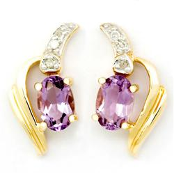 1.16Ct Natural Amethyst & Diamond 9K Gold Earrings (JEW-9114X)