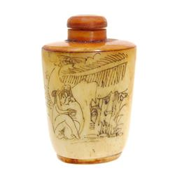 Kamasutra Chinese Bone Snuff Bottle   (ANT-640)
