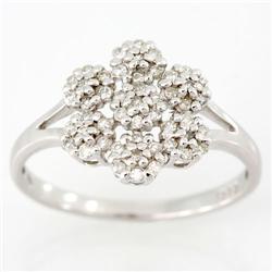 0.49Ct Genuine Natural 49 Diamond White 9K Gold Ring (JEW-9060X)