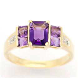 1.66Ct Natural Amethyst & Diamond 9K Gold Ring (JEW-9082X)