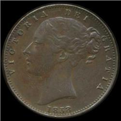 1858 Britain Victoria Farthing High Grade (COI-7055)
