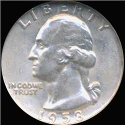 1958D Washington 25c Silver Quarter Coin Graded GEM (COI-6837)