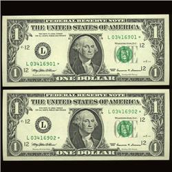 1999 $1 Star Fed Reserve Uncirculated Pair  (COI-991)