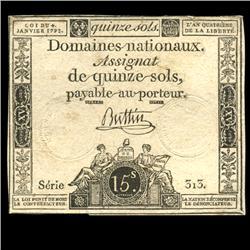 1792 France RARE 15 Sols Assignat Currency AU+ (CUR-05874)