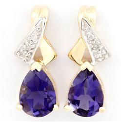 1.46Ct Natural Iolite & Diamond 9K Gold Earrings (JEW-9103X)
