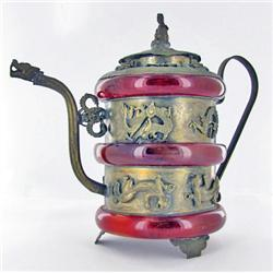 """Vintage Chinese Amber Decorative Teapot 5"""" (ANT-860)"""