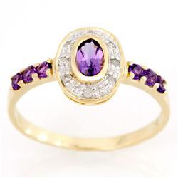 1.16Ct Natural Amethyst & Diamond 9K Gold Ring (JEW-9062X)
