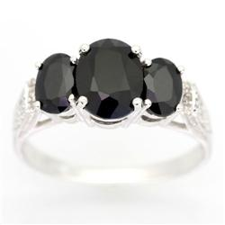 3.00Ct Black Sapphire & 10 Diamond Ring White 9K Gold (JEW-9067X)