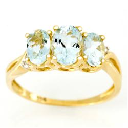 2.33Ct Natural Aquamarine & Diamond Ring 9K Gold (JEW-9015X)