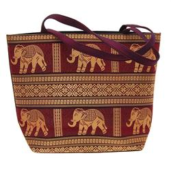 Thai Silk Hand Crafted Large Elephant Handbag   (ACT-145)