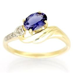 0.94Ct Natural Iolite & Diamond Solid 9K Gold Ring (JEW-9181X)